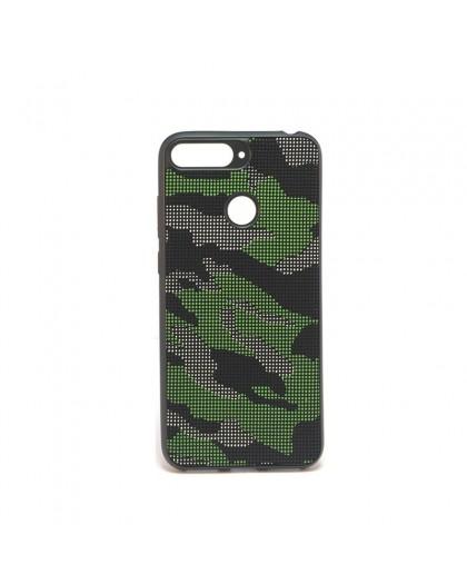 Dot Design Zwart Camouflage Siliconen Hoesje Huawei Y6 2018