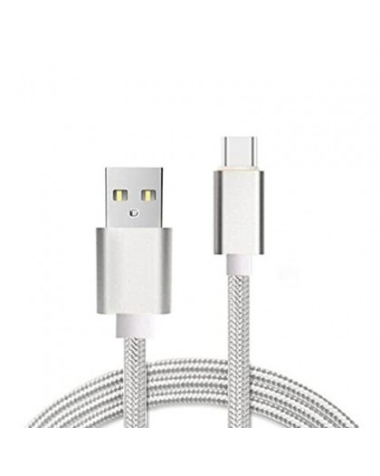 Geweven USB Type-C naar USB Kabel - Zilver