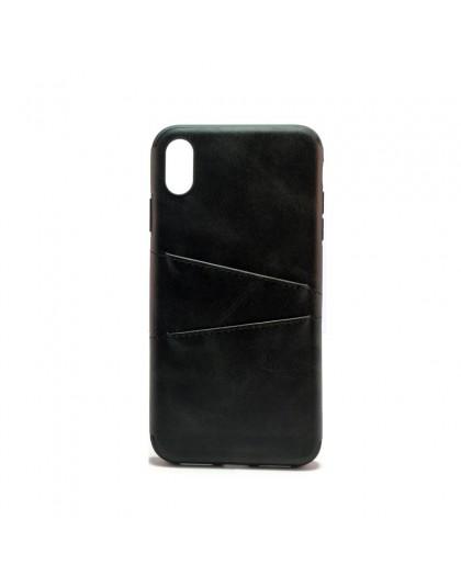 Creative Schwarzes Leder Silikonhülle 2 Karten iPhone XS max