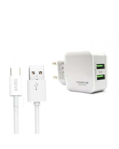 Xssive Dual USB Fast Charger + USB-C naar USB-kabel
