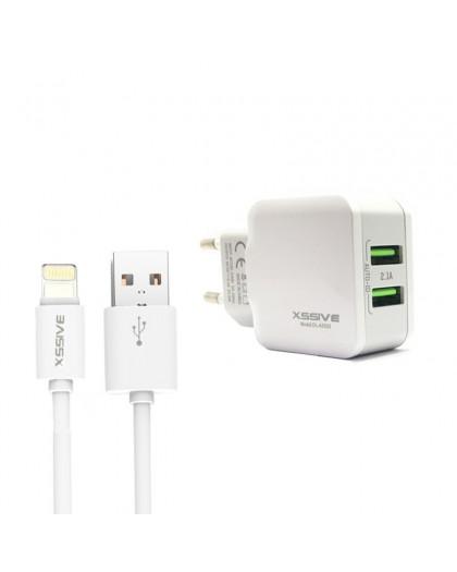 Xssive Dual USB Fast Charger + Lightning Zu USB-Kabel