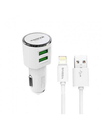 Xssive Dual USB 3.4A Autolader + Lightning Naar USB Kabel
