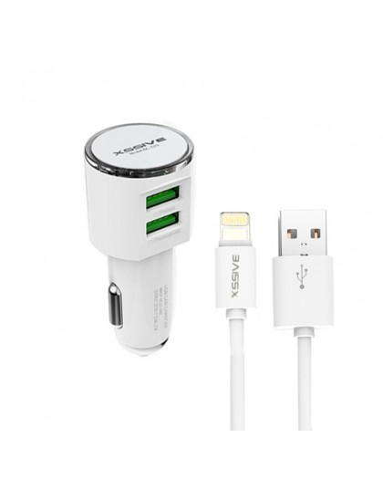 Xssive Dual USB 3.4A Car Charger + Lightning To USB Cable