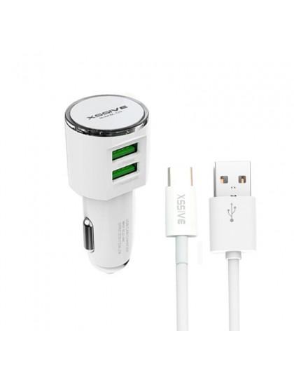Xssive Dual USB 3.4A Autolader + USB-C Naar USB Kabel