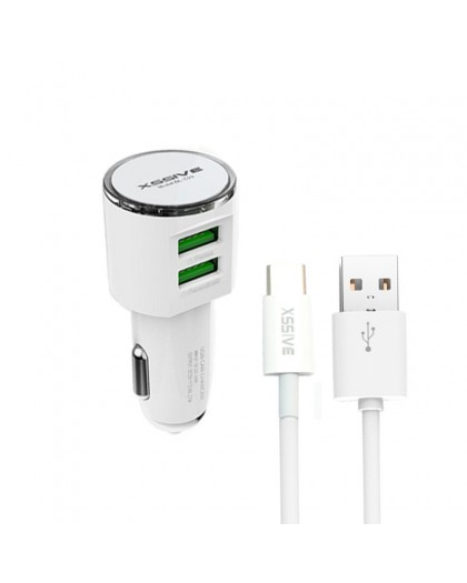 Xssive Dual USB 3.4A Car Charger + USB-C To USB Cable