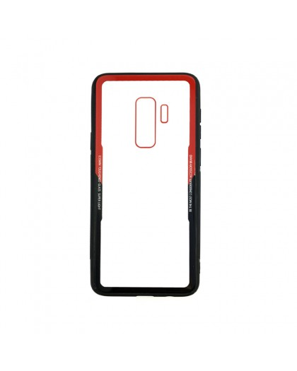 Tempered Glass TPU Bumper Case for Samsung Galaxy S9 Plus - Red