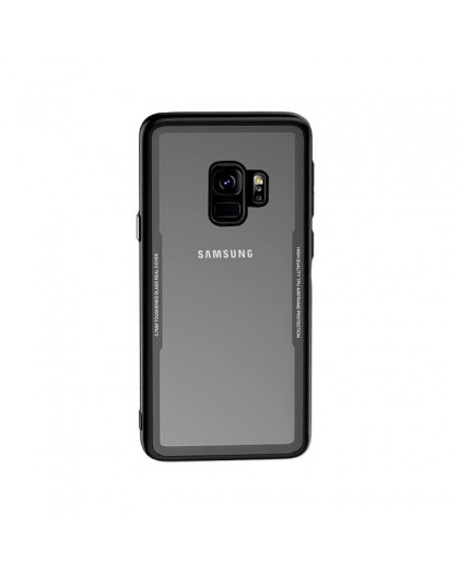 Tempered Glass TPU Bumper Case for Samsung Galaxy S9 - Black