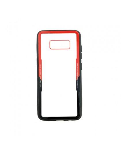 TPU-Stoßfänger-Hülle Aus Gehärtetem Glas Für Samsung Galaxy S8 - Rot