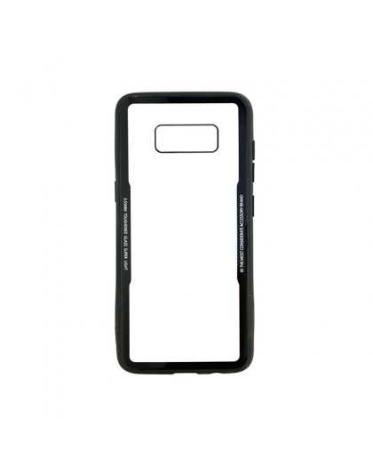 Tempered Glass TPU Bumper Case for Samsung Galaxy S8 - Black