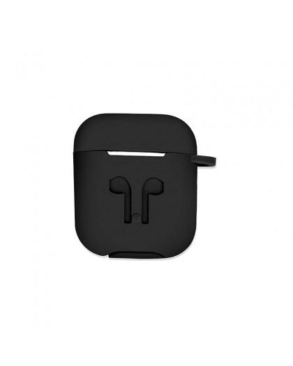 Airpods Siliconen Cover Hoesje voor Apple Airpods - Zwart
