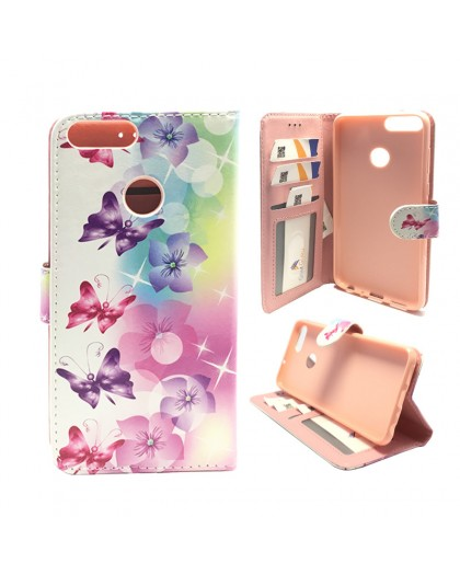 Schmetterlings- / Blumendruck Wallet Case Huawei P Smart