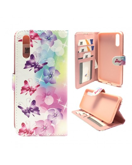 Schmetterlings- / Blumendruck Wallet Case Huawei P20