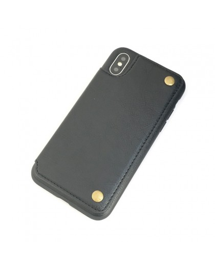 Gianni iPhone X / XS Card Series TPU Leather Case Black