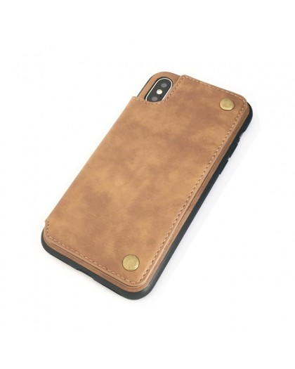 Gianni iPhone X / XS Card Series TPU Leather Case Brown