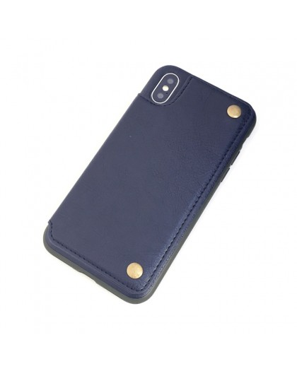 Gianni iPhone X / XS Card Series TPU Leather Case Blue