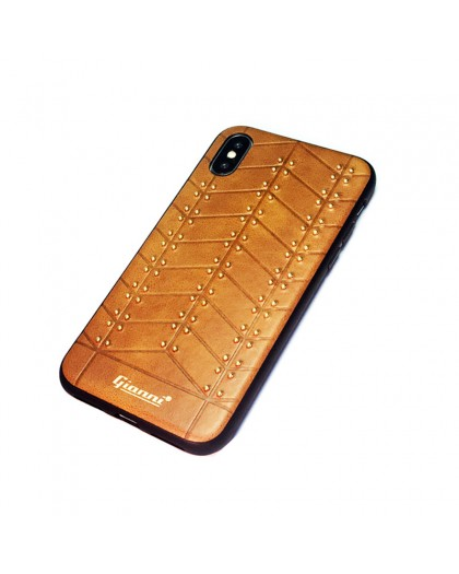 Gianni iPhone XS / X Studded TPU Leather Case Brown