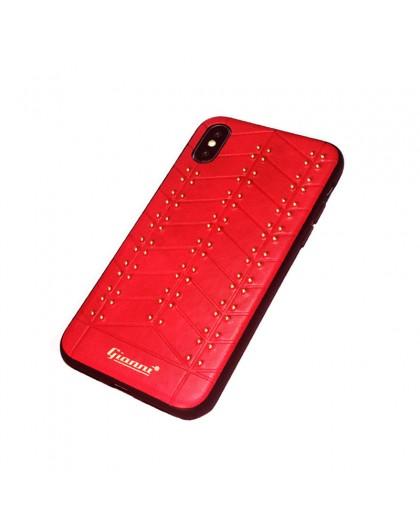 Gianni iPhone XS / X Studded TPU Lederen Hoesje Rood