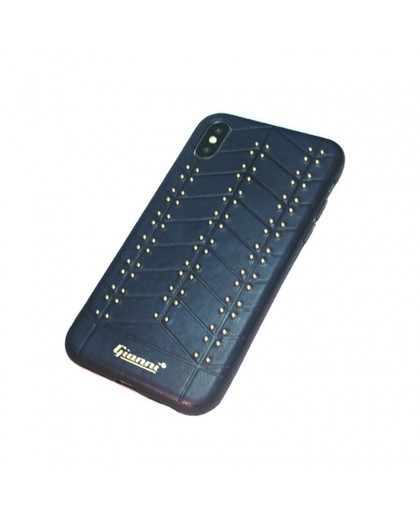 Gianni iPhone XS / X Studded TPU Leather Case Blue