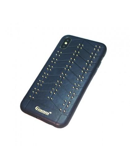 Gianni iPhone XS / X Studded TPU Leather Case Blue