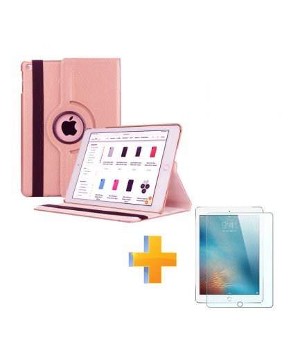 360 Rotatable Rose Gold Case + Screen Protector Tempered Glass for Apple iPad (2018) / (2017)