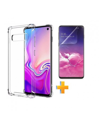 Anti Shock TPU Hoesje + TPU Screen Protector Samsung Galaxy S10