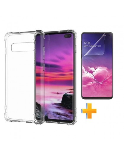 Anti Shock Hülle + TPU Displayschutzfolie Samsung Galaxy S10 Plus