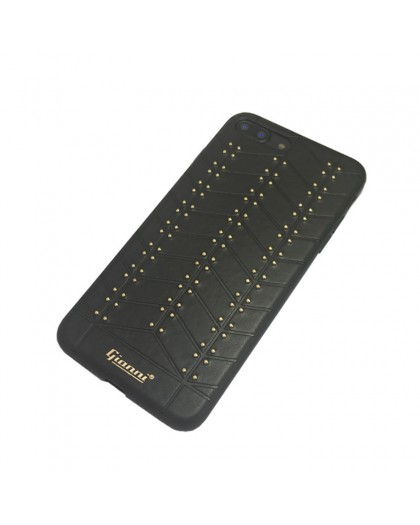 Gianni iPhone 8 Plus / 7 Plus Studded TPU Lederen Hoesje Zwart
