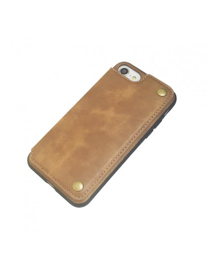 Gianni iPhone 8 / 7 Card Series TPU Lederen Case Bruin
