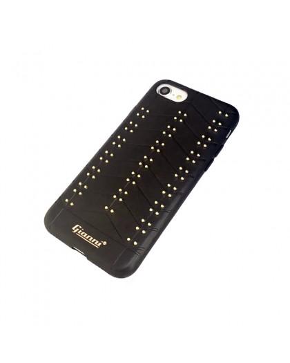 Gianni iPhone 8 / 7 Nieten TPU Ledertasche Schwarz