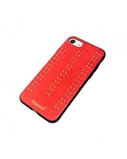 Gianni iPhone 7 / 8 Nieten TPU Ledertasche Rot