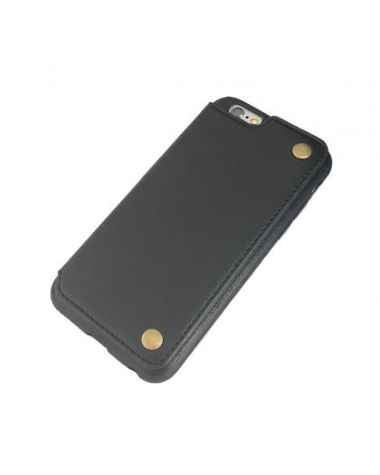 Gianni iPhone 6 / 6S Card Series TPU Lederen Case Zwart