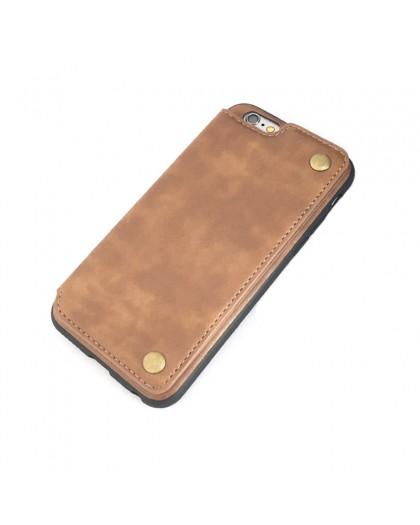 Gianni iPhone 6 / 6S Card Series TPU Lederen Case Bruin