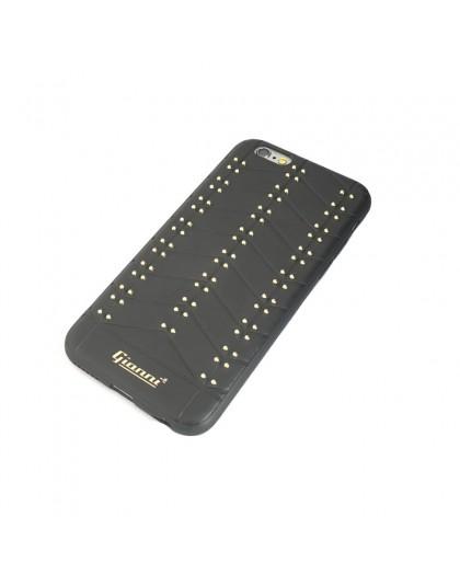 Gianni iPhone 6 / 6S Studded TPU Lederen Hoesje Zwart