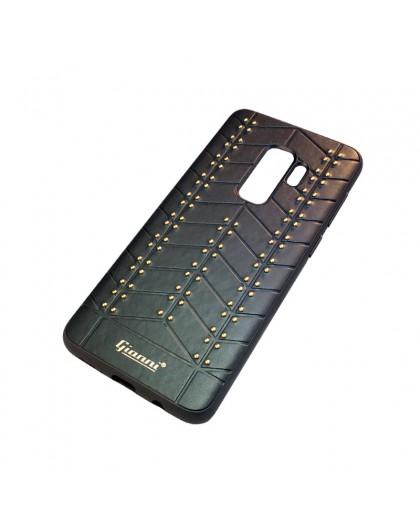 Gianni Galaxy S9 Plus Studded TPU Lederen Hoesje Zwart