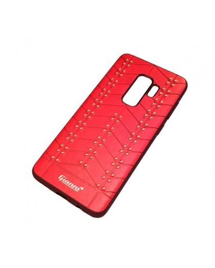 Gianni Galaxy S9 Plus Nieten TPU Ledertasche Rot