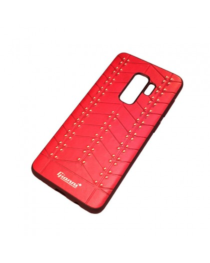 Gianni Galaxy S9 Plus Studded TPU Lederen Hoesje Rood