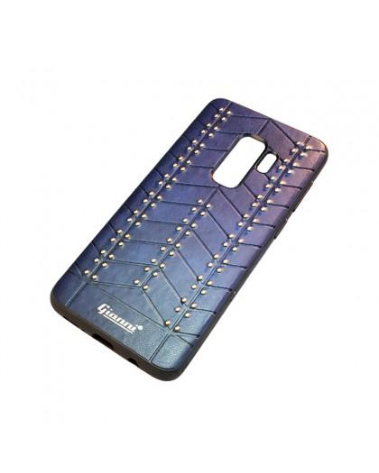 Gianni Galaxy S9 Plus Studded TPU Lederen Hoesje Blauw
