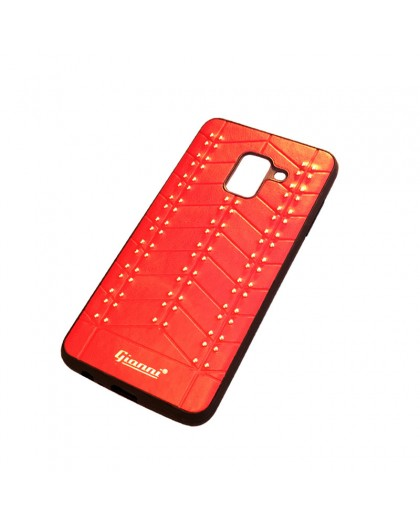 Gianni Galaxy A8 2018 Studded TPU Leather Case Red