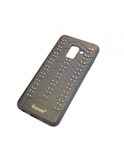 Gianni Galaxy A8 2018 Studded TPU Leather Case Black